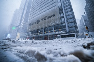 New York Times Building 8th avenue and 40th Street 2016 NYC Storm Arpi Pap Studio Images.